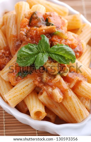 pasta with meat sauce in white bowl - stock photo