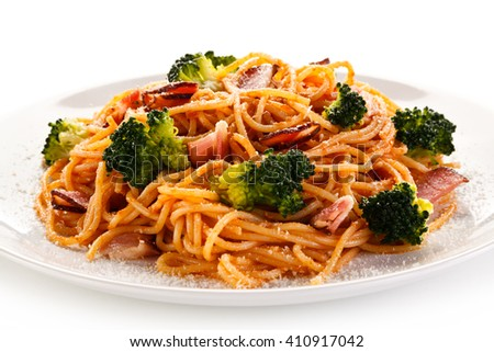 Pasta with pesto sauce, ham, Parmesan and broccoli