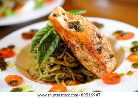 pasta with salmon - stock photo