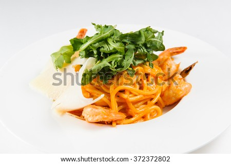 Pasta with seafood on a plate