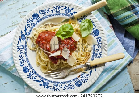 pasta with tomato sauce - Italian spaghetti - stock photo