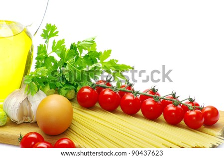 pasta with tomatoes on a white background - stock photo