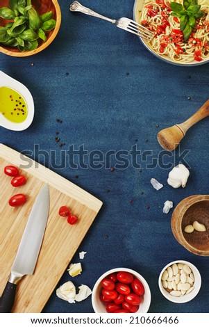 Pasta with trapanese pesto sauce - stock photo