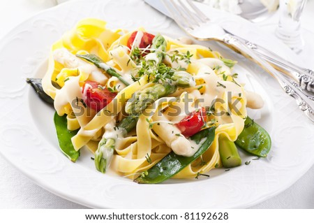 Pasta with vegetable and sauce - stock photo