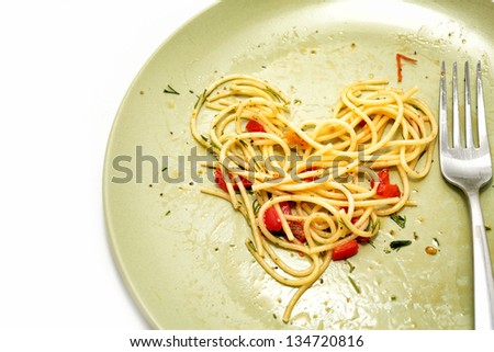 pasta with vegetables and sauce - stock photo