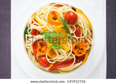 Pasta with vegetables top view - stock photo