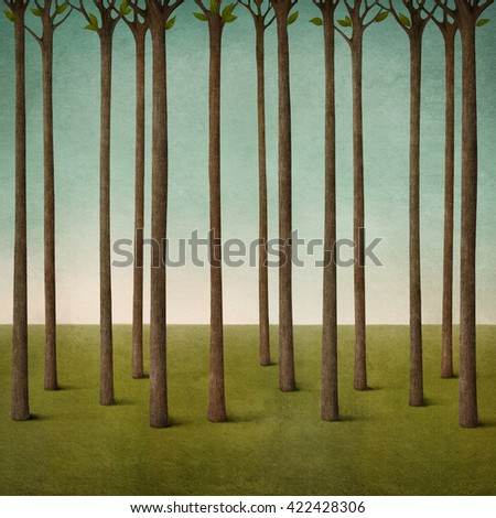 Pastel background texture with tree trunks and  field in  forest - stock photo