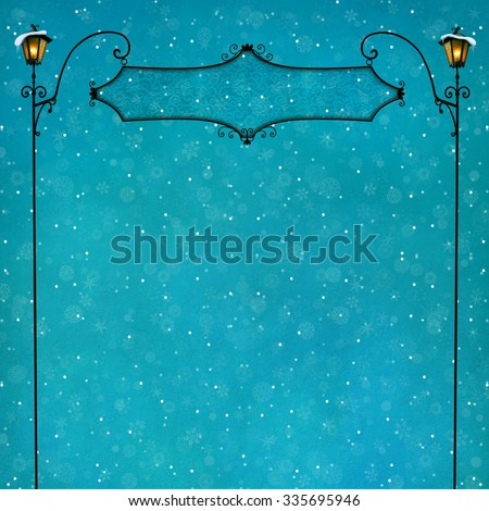 Pastel background with iron signboard and lantern - stock photo