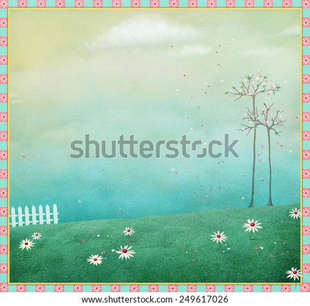 Pastel background with white fence and blooming garden - stock photo