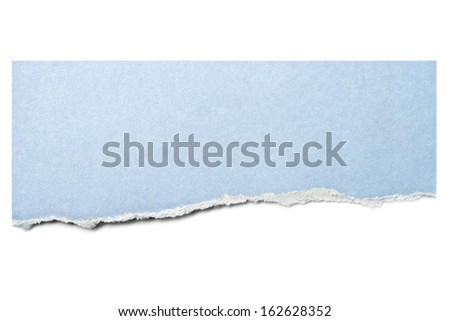 Pastel blue paper tear isolated on white with soft shadow. - stock photo