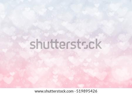 Pastel blurred heart bokeh background, Valentine's Day card texture