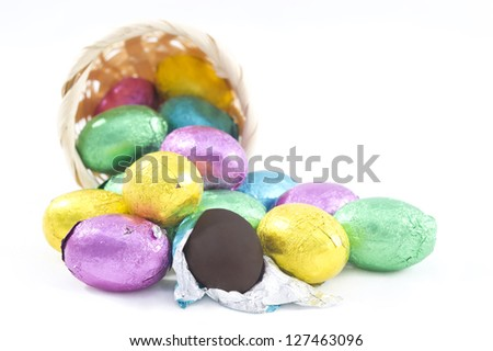 Pastel candy coated Easter chocolates in white background