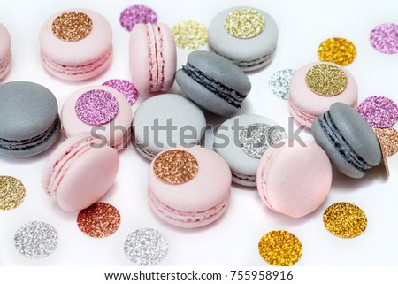Pastel color holiday macarons cookies. Isolated on white