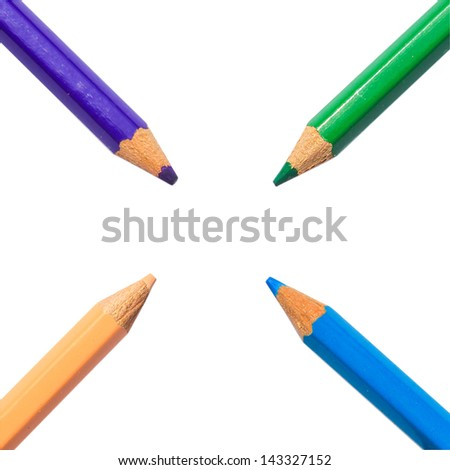 pastel colorful pencil on white color paper background