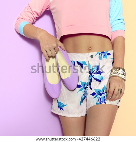 Pastel colors, Floral print. Vanilny Summer style. Fashion Girl and Accessories.