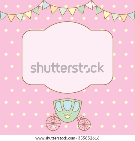 Pastel colour retro polka dot background with frame for text or photo, multicolored buntings garlands and carriage. Raster illustration. - stock photo