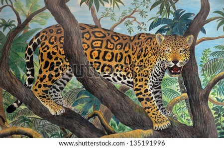 pastel drawing of jaguar in the jungle - stock photo