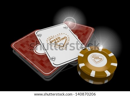 Pastel gray  noble risky 3d graphic with posh speed dating symbol  on poker cards - stock photo