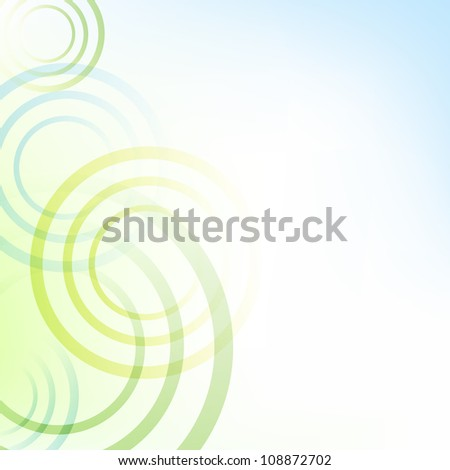 Pastel Green And Blue Background With Circles - stock photo