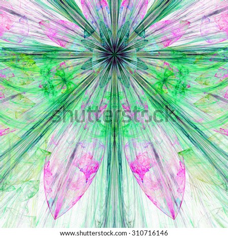 Pastel green,blue,pink exploding flower/star fractal background with a detailed decorative pattern, all in high resolution. - stock photo