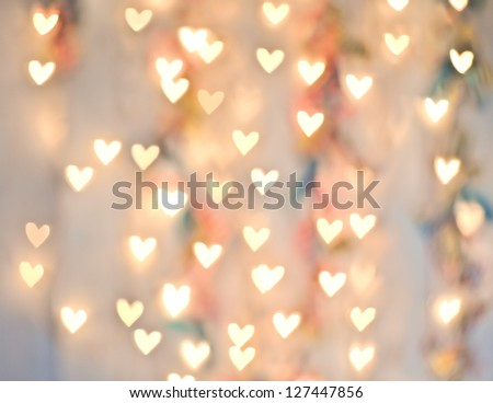 Pastel Heart Bokeh on a Pale Background - stock photo