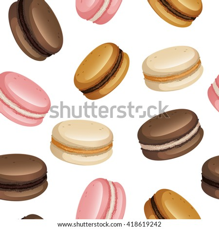 Pastel macarons set seamless pattern on white isolated background. Food design for menu, textile, wrapping paper, wedding.
