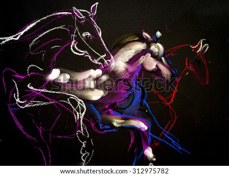 Pastel painting of  running horses on a cardboard. Modern Art - stock photo