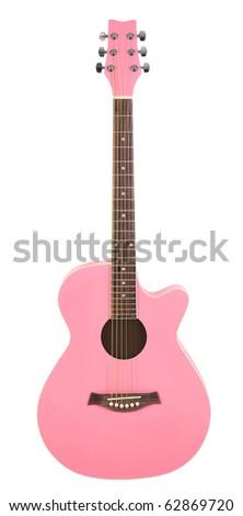 Pastel Pink Acoustic Cutaway Girlie Guitar - stock photo