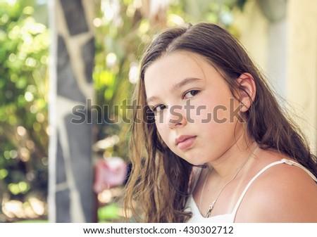 Pastel portrait of teen girl - stock photo