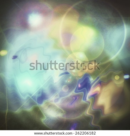 Pastel psychedelic cosmos outer space galaxy abstract background textured concept digital art illustration with blue yellow aqua turquoise green orange pink and purple on black. Spring or summer theme - stock photo