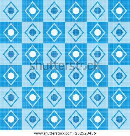 Pastel retro blue stripes mosaic plaid, raster version - stock photo