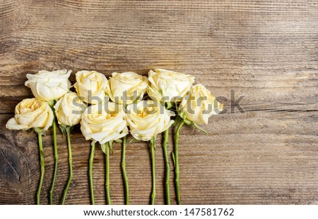 Pastel roses on wooden background. Copy space - stock photo