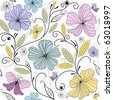 Pastel seamless floral pattern with flowers and butterflies - stock photo