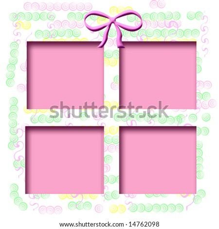 pastel shapes on white background  with pink cutout center