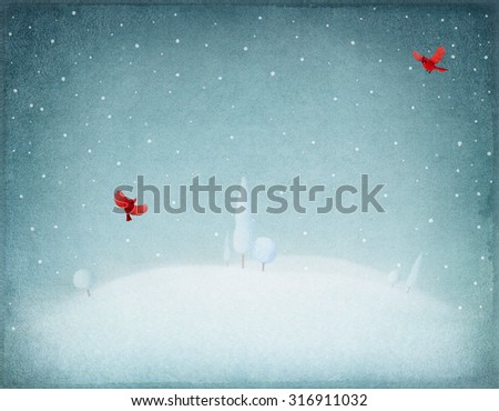 Pastel winter night background  and  snowy landscape - stock photo