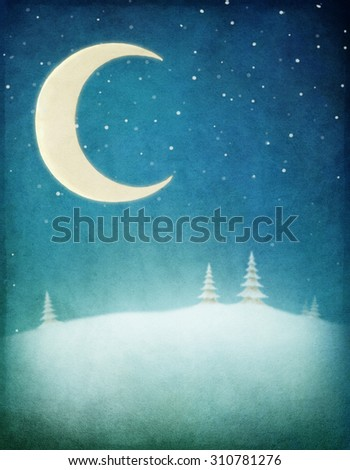 Pastel winter night background with  moon and  snowy landscape - stock photo