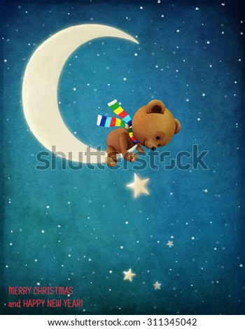 Pastel winter night Greeting holiday card with Bear on moon and  stars - stock photo