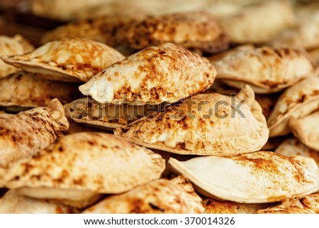 Pasties on a traditional craftsman market.Horizontal image.