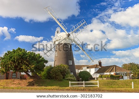 Paston UK - 12TH JULY 2012: Stow Mill, a tower corn mill, is situated on the north east coast of Norfolk in the parish of Paston in UK. - stock photo