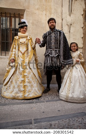 PASTRANA, SPAIN: 20 JULY: People costumed at Ducal Festival of Pastrana, Guadalajara. On july 20, 2014. Historical reenactment of XVII century, the historical moment of greatest splendor