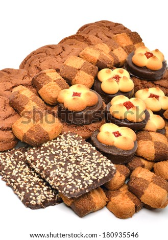 Pastry, biscuits and cookies isolated on white