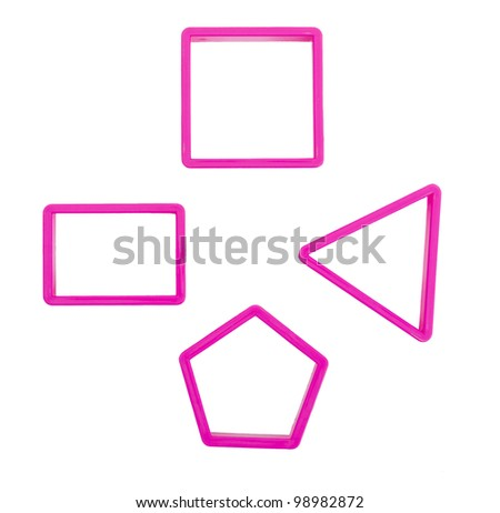 Pastry cookie or biscuit cutters, overhead - isolated on white - stock photo