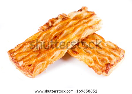 Pastry with ham and cheese isolated on white background