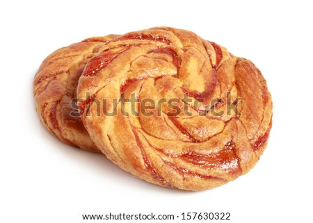 Pastry with jam on a white background