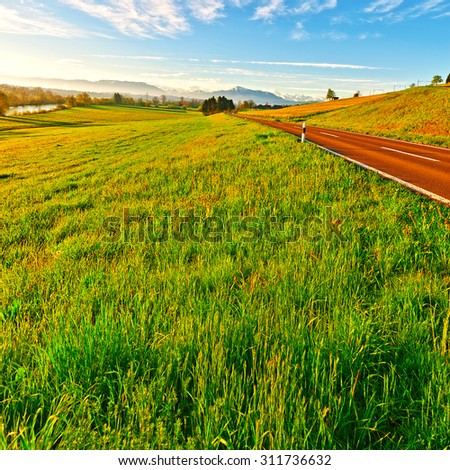 Pasture along the Irrigation Canal and Asphalt Road on the Background of the Snow-capped Alps in Switzerland - stock photo