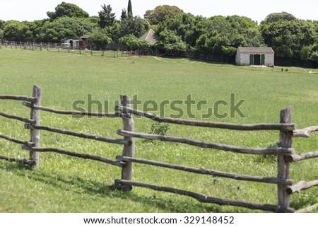 Pasture and barn from National Park Brijuni, in Croatia. - stock photo