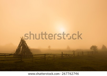 Pasture with haystacks in the foggy morning - stock photo