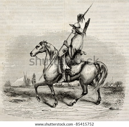 Patagon knight old illustration. Created by Lebreton, published on Magasin pittoresque, Paris, 1842 - stock photo