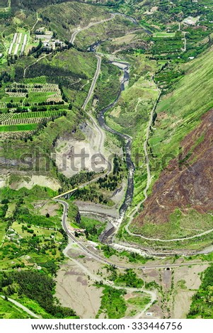 Patate And Chambo River Uniting To Form Pastaza River In Ecuador High Altitude Aerial Shot - stock photo