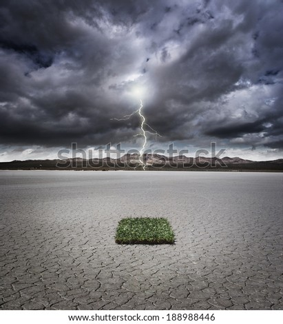 Patch of grass in a dry lake bed with storm clouds and lightning